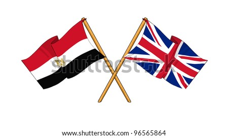 United Kingdom and Egypt alliance and friendship - stock photo