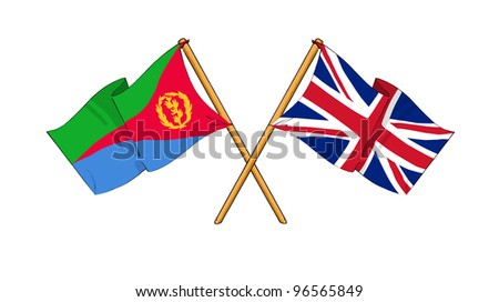 United Kingdom and Eritrea alliance and friendship - stock photo