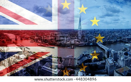 United Kingdom and European union flags combined for Brexit - London cityscape in the background - stock photo