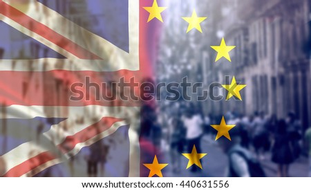 United Kingdom and European union flags combined for the 2016 referendum - city streets in the background - stock photo
