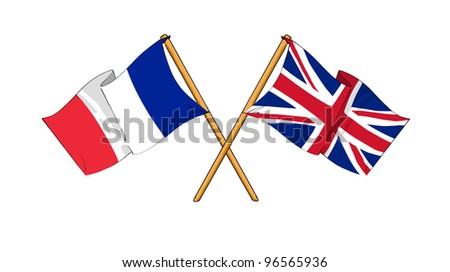 United Kingdom and France alliance and friendship - stock photo