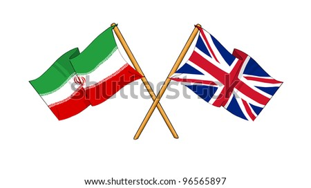 United Kingdom and Iran alliance and friendship - stock photo