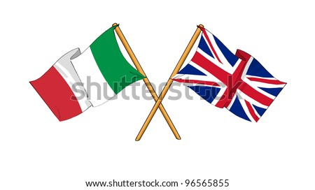 United Kingdom and Italy alliance and friendship - stock photo