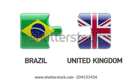 United Kingdom Brazil High Resolution Puzzle Concept - stock photo