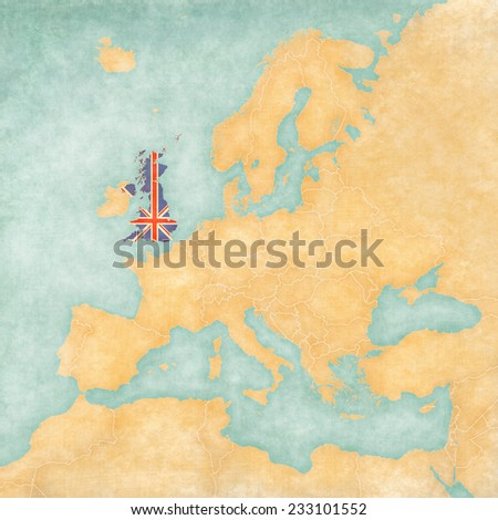 United Kingdom (British flag) on the map of Europe. The Map is in vintage summer style and sunny mood. The map has soft grunge and vintage atmosphere, which acts as watercolor painting on old paper.  - stock photo