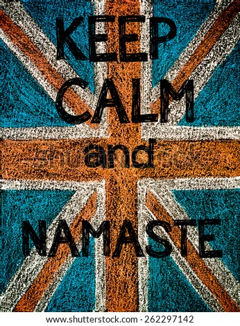 United Kingdom (British Union jack) flag, hand drawing with chalk on blackboard, vintage concept.Keep Calm and Namaste message - stock photo