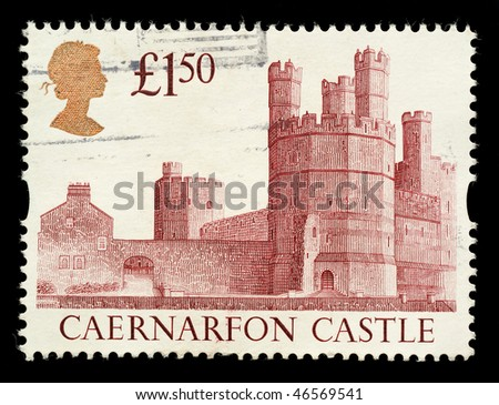 UNITED KINGDOM - CIRCA 1992: A British £1.50 Used Postage Stamp showing Caernarfon Castle , circa 1992