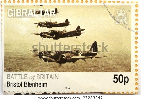 UNITED KINGDOM - CIRCA 2010: a Gibraltar stamp printed in the UK shows image of planes fighting in the Battle of Britain in WWII, circa 2010 - stock photo