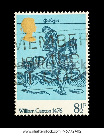 UNITED KINGDOM - CIRCA 1976: A mail stamp printed in the UK commemorating 500 years of printing press pioneer William Caxton , circa 1976