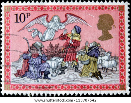 UNITED KINGDOM - CIRCA 1979: A post stamp printed in the Great Britain devoted Christmas , circa 1979