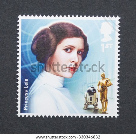 UNITED KINGDOM - CIRCA 2015: a postage stamp printed in United Kingdom commemorative of Star Wars movie with Princess Leia character, circa 2015.  - stock photo