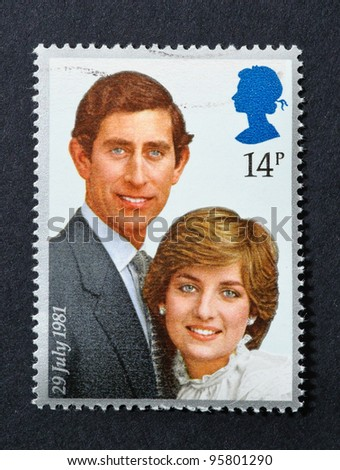 UNITED KINGDOM – CIRCA 1981: A postage stamp printed in United Kingdom showing an image of the Royal Wedding of Prince Charles and Lady Diana Spencer, circa 1981. - stock photo