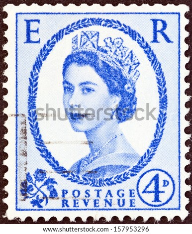 UNITED KINGDOM - CIRCA 1952: A postage stamp printed in United Kingdom shows queen Elizabeth II, circa 1952.  - stock photo