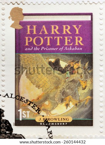 UNITED KINGDOM - CIRCA 2007: A stamp printed by GREAT BRITAIN shows image of the cover of Harry Potter and the Prisoner of Azkaban novel by Joanne (Jo) Rowling, pen names J. K. Rowling, circa 2007. - stock photo