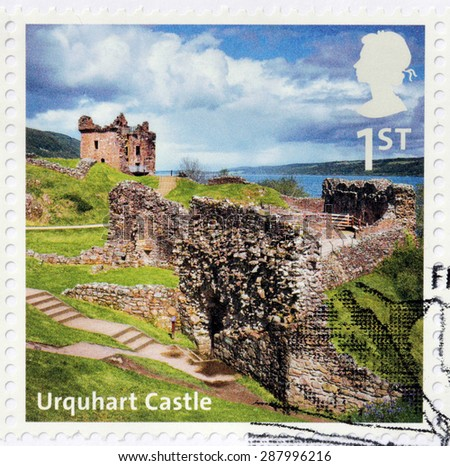 UNITED KINGDOM - CIRCA 2012: A stamp printed by GREAT BRITAIN shows view of the ruins of Urquhart Castle. Castle locates beside Loch Ness in the Highlands of Scotland, circa 2012 - stock photo