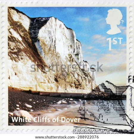 UNITED KINGDOM - CIRCA 2012: A stamp printed by GREAT BRITAIN shows view of  White Cliffs of Dover - cliffs which form part of English coastline facing the Strait of Dover and France, circa 2012 - stock photo