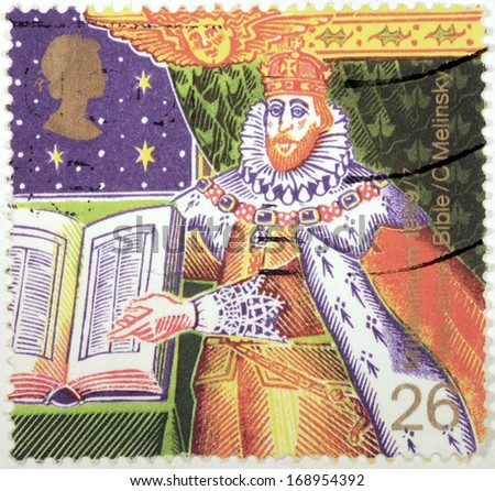 UNITED KINGDOM - CIRCA 1999: a stamp printed by UNITED KINGDOM shows image portrait of King James I with The Bible (Authorised Version of Bible), circa 1999. - stock photo