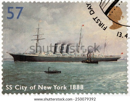 UNITED KINGDOM - CIRCA 2004: A stamp printed by UNITED KINGDOM shows view of British passenger liner SS City of New York, 1888, circa 2004 - stock photo