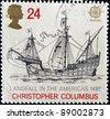 UNITED KINGDOM - CIRCA 1992: A stamp printed in England, is dedicated to the 500th anniversary of the discovery of America, shows the flag-ship, Christopher Columbus, circa 1992 - stock photo