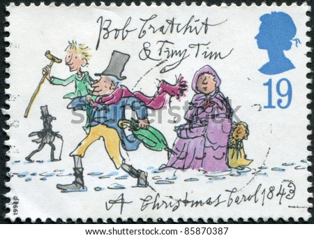 UNITED KINGDOM - CIRCA 1993: A stamp printed in England, is dedicated to the 150th anniversary of Charles Dickens, shows Tiny Tim, Bob Cratchit, circa 1993 - stock photo