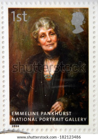 UNITED KINGDOM - CIRCA 2006: A stamp printed in Great Britain dedicated to the national portrait gallery, shows Emmeline Pankhurst by Georgina Brakenbury, circa 2006 - stock photo