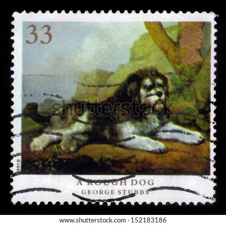 UNITED KINGDOM - CIRCA 1991: A stamp printed in Great Britain shows a rough dog, painting by George Stubbs, circa 1991