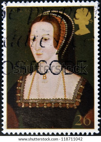 UNITED KINGDOM - CIRCA 1997: A stamp printed in Great Britain shows Anne Boleyn, wife of king Henry VIII, circa 1997 - stock photo