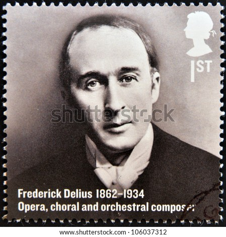UNITED KINGDOM - CIRCA 2012: A stamp printed in Great Britain shows Frederick Delius, Opera, choral and orchestral composer, circa 2012 - stock photo
