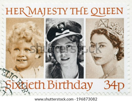 UNITED KINGDOM - CIRCA 1986: a stamp printed in the Great Britain shows Her Majesty the Queen Elizabeth II, sixtieth birthday, circa 1986 - stock photo
