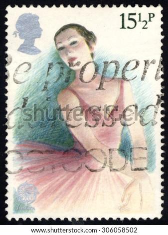 UNITED KINGDOM - CIRCA 1983: A stamp printed in the United Kingdom shows Ballerina, British Theater series, circa 1983 - stock photo