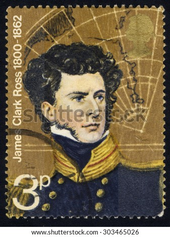UNITED KINGDOM - CIRCA 1972: A stamp printed in the United Kingdom shows James Clark Ross and Map of South Polar Sea, British Polar Explorer, circa 1972