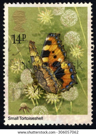 UNITED KINGDOM - CIRCA 1981: A stamp printed in the United Kingdom shows Small Tortoiseshell Butterfly, circa 1981 - stock photo