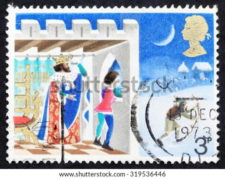 "UNITED KINGDOM - CIRCA 1973: A stamp printed in United Kingdom from the ""Christmas "" issue shows Page looking out of window, Illustration for Christmas carol Good king Wenceslas, circa 1973. - stock photo"