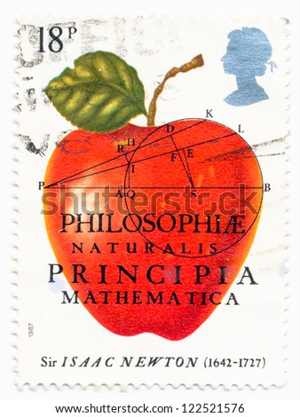 UNITED KINGDOM - CIRCA 1987: A stamp printed in United Kingdom shows a Red Apple of Sir Isaac Newton (1642-1727), Physicist, Mathematician, circa 1987 - stock photo