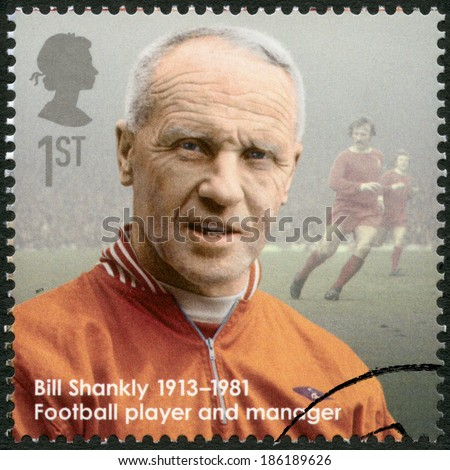 UNITED KINGDOM - CIRCA 2013: A stamp printed in United Kingdom shows Bill Shankly (1913-1981), football player and manager, series Great Britons, circa 2013 - stock photo