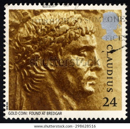 UNITED KINGDOM - CIRCA 1993: A stamp printed in United Kingdom shows image of Claudius, gold coin: Found at Bredgar, circa 1993 - stock photo