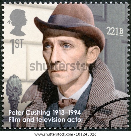 UNITED KINGDOM - CIRCA 2013: A stamp printed in United Kingdom shows Peter Cushing (1913-1994), actor, series Great Britons, circa 2013 - stock photo