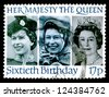 "UNITED KINGDOM - CIRCA 1986: A stamp printed in United Kingdom shows portraits of Elizabeth II (in 1958, 1973 and 1982), inscriptions and series ""Her Majesty the Queen, sixtieth Birthday"", circa 1986 - stock photo"