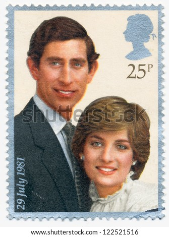 UNITED KINGDOM - CIRCA 1981: A stamp printed in United Kingdom shows portraits of Prince Charles and Lady Diana, circa 1981 - stock photo