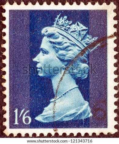 UNITED KINGDOM - CIRCA 1967: A stamp printed in United Kingdom shows Queen Elizabeth II, circa 1967. - stock photo