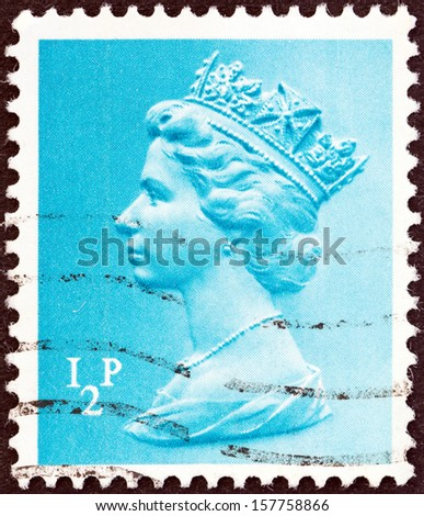 UNITED KINGDOM - CIRCA 1971: A stamp printed in United Kingdom shows Queen Elizabeth II, circa 1971.  - stock photo