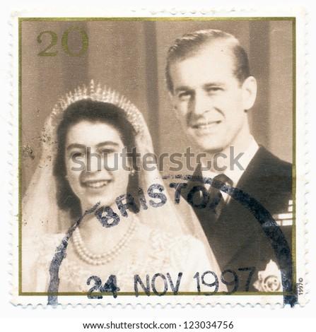 UNITED KINGDOM - CIRCA 1997: A stamp printed in United Kingdom shows Queen Elizabeth II, Prince Philip, 50th Wedding Anniv., circa 1997 - stock photo
