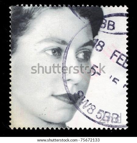 UNITED KINGDOM - CIRCA  2002: A stamp printed in United Kingdom shows  shows Queen Elizabeth II, circa 2002. - stock photo
