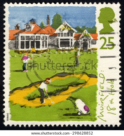 UNITED KINGDOM - CIRCA 1994: A stamp printed in United Kingdom shows St. Andrews, old course, 250th anniversary of Honorable Company of Edinburgh Golfers, circa 1994 - stock photo