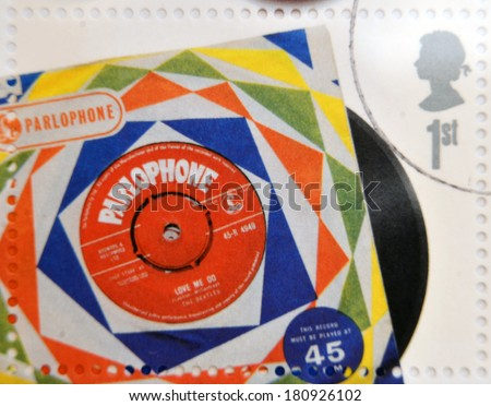UNITED KINGDOM - CIRCA 2007: A stamp printedin Great Britain shows The Beatles Vinyl Record, circa 2007.  - stock photo