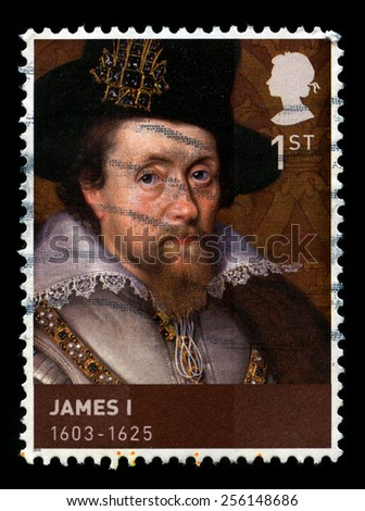 UNITED KINGDOM - CIRCA 2010: A used British postage stamp depicting a portrait of King James I, circa 2010. - stock photo
