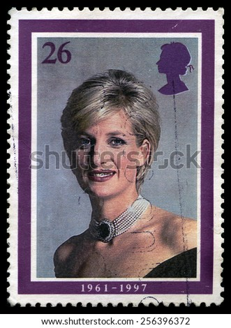 UNITED KINGDOM - CIRCA 2008: A used British postage stamp depicting a portrait of Princess Diana, circa 2008. - stock photo