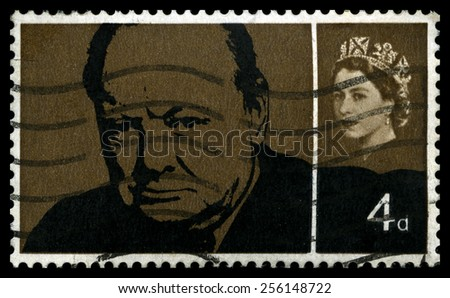 UNITED KINGDOM - CIRCA 1965: A used British postage stamp, depicting an image of former Prime Minister Sir Winston Churchill, circa 1965. - stock photo