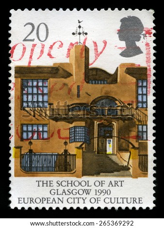 UNITED KINGDOM - CIRCA 1990: A used British Postage Stamp depicting an image of the Glasgow School of Art, circa 1990. - stock photo