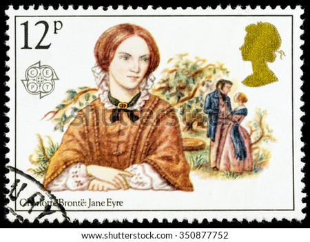 UNITED KINGDOM - CIRCA 1980: A used postage stamp printed in Britain celebrating Famous Authoresses, showing Charlotte Bronte and Jane Eyre - stock photo
